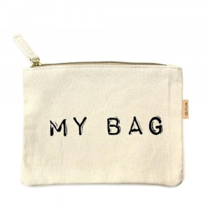 """My Bag"" canvas travel pouch.  - Open lined inside - Zipper closure - Approximately 7"" W x 6"" T  - 100% Cotton"