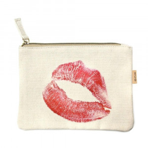 "XOXO Kiss canvas travel pouch.  - Open lined inside - Zipper closure - Approximately 7"" W x 6"" T  - 100% Cotton"