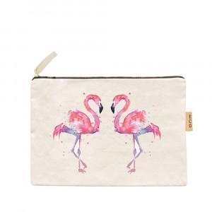 "Flamingo Canvas Pouch.  - Zipper Closure - Open Inside - No Pockets - Approximately 7"" W x 6"" T  - 100% Cotton"