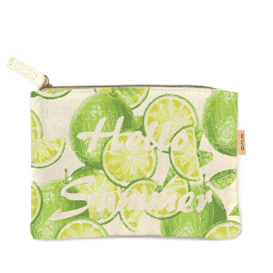 "Lime summer time canvas travel pouch.  - Open lined inside, no pockets - Zipper closure - Approximately 7"" W x 6"" T - 100% Cotton"