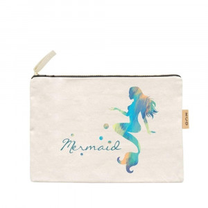 "Mermaid canvas travel pouch.  - Open lined inside, no pockets - Zipper closure - Approximately 7"" W x 6"" T - 100% Cotton"
