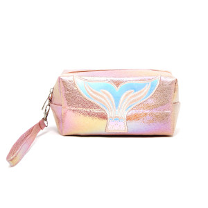"""Mermaid fin zip closure black and gold striped hand bag or makeup bag with wristlet.  Approximate 10 1/2L by 3"""" wide. 100% PVC"""