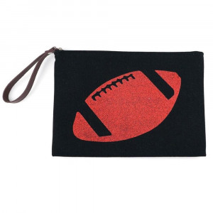 """Football glitter clutch featuring a wristlet, lined inside with pocket and zipper closure. Approximately 7"""" x 10"""" in size.  - Composition: 60% Cotton, 40% Polyester"""