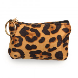 """Leopard Print Zipper Coin Pouch.  - Zipper Closure - Open Lined Inside  - Fits Card & Coins - Approximately 5"""" x  4"""""""