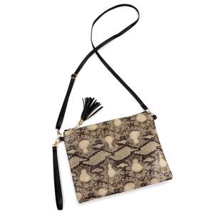 "Snakeskin Tassel Handbag.  - Zipper Closure - Open Lined Inside - 2 Functional Pockets - Detachable Faux Leather Strap - Approximately 10"" L x 8"" W"
