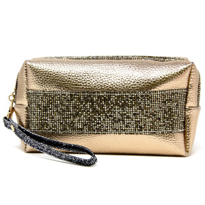 """Metallic Faux Leather Cosmetic/Travel Pouch Featuring Detachable Wristlet.  - Open lined inside, no pockets - Zipper closure - Detachable wristlet 6"""" L - Approximately 9"""" W x 4"""" T - 60% PVC, 40% PU"""