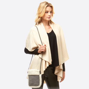 "Faux Suede Sherpa Trim Crossbody.  - Zipper closure - No Pockets - Approximately 6"" W x 8"" T - 100% Polyester"