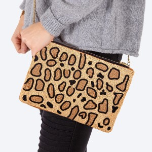 """High quality seed beaded leopard print handbag.  - Zipper closure - One inside open pocket - Inside lining 100% Cotton - Approximately 10.5"""" W x 6"""" T - Strap approximately 52"""" L - Approximately 62"""" L overall - 40% Seed beads, 40% Cotton Canvas, 20% Metal"""