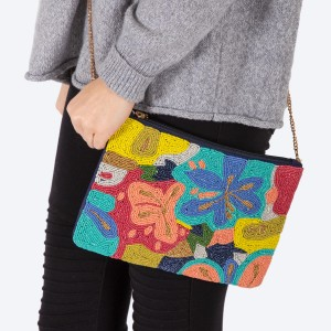 """High quality multicolor seed beaded floral print handbag.  - Zipper closure - One inside open pocket - Inside lining 100% Cotton - Approximately 10.5"""" W x 7"""" T - Strap approximately 52"""" L - Approximately 62"""" L overall - 40% Seed beads, 40% Cotton Canvas, 20% Metal"""