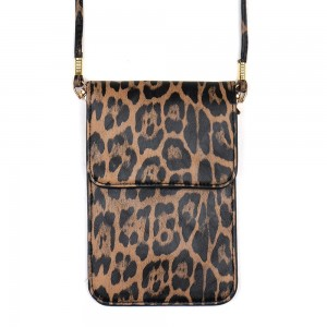 """Faux leather leopard print cell phone cross body.  - One inside pocket - Clear back window - Flap button closure - Strap length approximately 24"""" - 100% PU"""