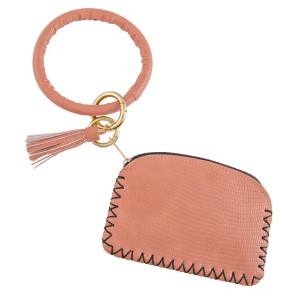 """PU Leather Tassel Coin Pouch Key Ring Bangle Keychain Holder.  - Open inside, no pockets - Zipper closure - Detachable  - Ring approximately 4"""" in diameter - Pouch approximately 5"""" L x 3"""" T - 100% PU"""
