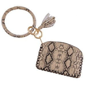 """Faux Leather Snakeskin Tassel Coin Pouch Key Ring Bangle Keychain Holder.  - Open inside, no pockets - Zipper closure - Detachable  - Ring approximately 4"""" in diameter - Pouch approximately 5"""" L x 3"""" T - 100% PU"""