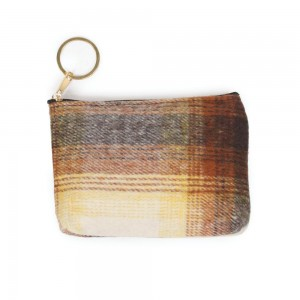 "Plaid Print Coin Keychain Pouch.  - Keyring to hold your Keys - Zipper Closure - Approximately 5.5"" W x 4"" H - 100% Polyester"