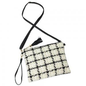"Tweed Plaid Tassel Handbag.  - Zipper Closure - Open Lined Inside - 2 Functional Pockets - Detachable Faux Leather Strap - Approximately 10"" L x 8"" W"