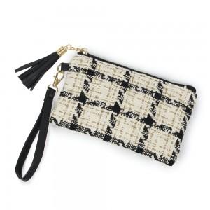 "Tweed Plaid Tassel Wristlet.  - Zipper Closure - Open Lined Inside - No Pockets - Detachable Wristlet - Approximately 7"" x 5"" - 100% Polyester"