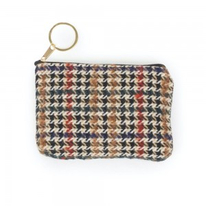 "Houndstooth Print Coin Keychain Pouch.  - Keyring to hold your Keys - Zipper Closure - Approximately 5.5"" W x 4"" H - 100% Polyester"