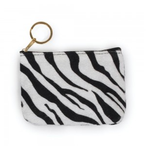 "Zebra Print Coin Keychain Pouch.  - Keyring to hold your Keys - Zipper Closure - Approximately 5.5"" W x 4"" H - 100% Polyester"
