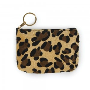 "Leopard Print Coin Keychain Pouch.  - Keyring to hold your Keys - Zipper Closure - Approximately 5.5"" W x 4"" H - 100% Polyester"