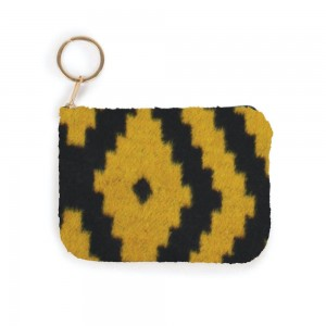 """Aztec Print Coin Keychain Pouch.  - Keyring to hold your Keys - Zipper Closure - Approximately 5.5"""" W x 4"""" H - 100% Polyester"""