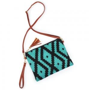"Aztec Print Tassel Handbag.  - Zipper Closure - Open Lined Inside - 2 Functional Pockets - Detachable Faux Leather Strap - Approximately 10"" L x 8"" W"