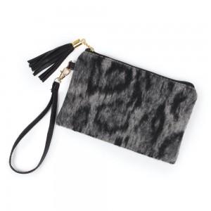 "Leopard Print Tassel Wristlet.  - Zipper Closure - Open Lined Inside  - No Pockets - Detachable Wristlet - Approximately 7"" x  5""  - 100% Polyester"