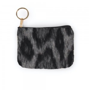 """Leopard Print Coin Keychain Pouch.  - Keyring to hold your Keys - Zipper Closure - Approximately 5.5"""" W x 4"""" H - 100% Polyester"""