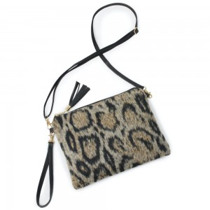 "Faux Fur Leopard Print Tassel Handbag.  - Zipper Closure - Open Lined Inside - 2 Functional Pockets - Detachable Faux Leather Strap - Approximately 10"" L x 8"" W"