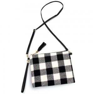 "Buffalo Check Tassel Handbag.  - Zipper Closure - Open Lined Inside - 2 Functional Pockets - Detachable Faux Leather Strap - Approximately 10"" L x 8"" W"