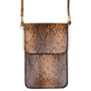 """Faux Leather Snakeskin Cell Phone Crossbody.  - One Inside Pocket - Clear Back Pocket - Flap Button Closure - Strap 24"""" L - Approximately 4""""T x 3"""" W - 100% PU"""