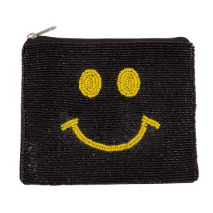 """Black Smiley Face Seed Beaded Canvas Pouch.  - Zipper Closure - Lined Inside - No Pockets - Spot Clean Only - Approximately 5"""" W x 4.5"""" T - 100% Cotton"""