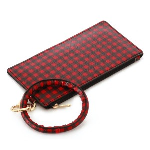 """Faux Leather Buffalo Check Key Ring Wallet Wristlet.  - Zipper Closure - Detachable 3"""" Key Ring - Holds: Bills / Coins / Cards / ID - Approximately 8"""" x 4"""""""