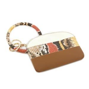 """Faux Leather Snakeskin Key Ring Coin Pouch Bangle Wristlet.  - Zipper Closure - Detachable 3"""" Key Ring - Holds: Coins / Cash / Cards / ID - Approximately 5"""" x 3"""""""