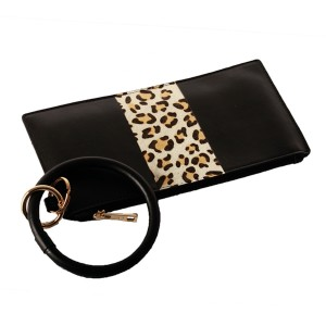 """Faux Leather Leopard Stripe Key Ring Wallet Wristlet.  - Zipper Closure - Detachable 3"""" Key Ring - Holds: Bills / Coins / Cards / ID - Approximately 8"""" x 4"""""""