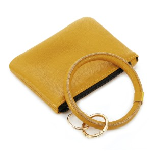 """Faux Leather Key Ring Coin Pouch Bangle Wristlet.  - Zipper Closure - Detachable 3"""" Key Ring - Holds: Coins / Cash / Cards / ID - Approximately 5"""" x 3"""""""