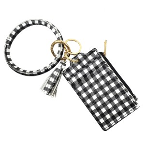 "Faux Leather Buffalo Check Tassel Key Ring ID/Card Holder Wristlet.  - Zipper Coin Pouch - 2 Card Pocket Holder - Detachable Key Ring  - Ring 3"" in Diameter - 2"" Tassel  - Approximately 4"" x 3"""