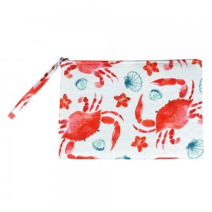 """Crab Print Canvas Travel Pouch Wristlet.  - Zipper Closure - Lined Inside - One Inside Open Pocket - 6"""" Wristlet - Approximately 10"""" x 7""""  - 60% Cotton / 40% Polyester"""