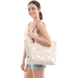 "Flamingo Print Canvas Tote Bag.  - Zipper Closure - Open Lined Inside - 1 Inside Zipper Pocket - 12"" Faux Leather Handles - Approximately 19"" x 13"""