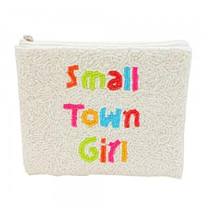 """Beaded """"Small Town Girl"""" Coin Purse Featuring Zipper Closure  - Approximately 5.5"""" L x 4.5"""" W - Zipper Closure"""