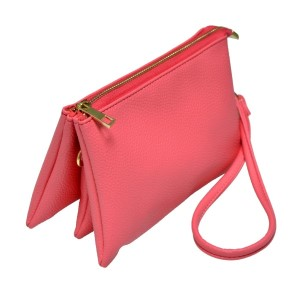 Multi-compartment coral clutch comes with detachable wristlet strap and adjustable cross-body strap. Main top zipper encloses 3 interior compartments with 6 credit card slots and center compartment with it's own top zipper. Made of PU leather and is easy wipe clean. Perfect for adding your own monogram. Measures 8.25 x 5.25 x 4.