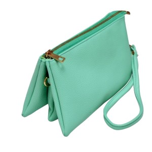 Multi-compartment mint green clutch comes with detachable wristlet strap and adjustable cross-body strap. Main top zipper encloses 3 interior compartments with 6 credit card slots and center compartment with it's own top zipper. Made of PU leather and is easy wipe clean. Perfect for adding your own monogram. Measures 8.25 x 5.25 x 4.