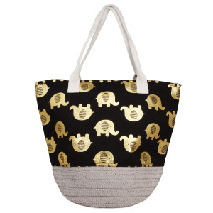 "Canvas and straw bucket tote bag with a metallic elephant print, a top zip closure and interior pocket. 80% polyester and 20% paper. Bottom measures 10"" in diameter, 16"" in width at the top, 13"" in height, and an 8"" shoulder drop."