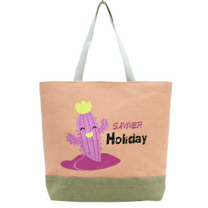"""Summer Holiday"" tote bag with a fully lined interior, magnetic closure, and inside pocket. Measures 20"" x 15"" in size with a 10"" shoulder drop. 55% cotton, 25% polyester, and 20% jute"