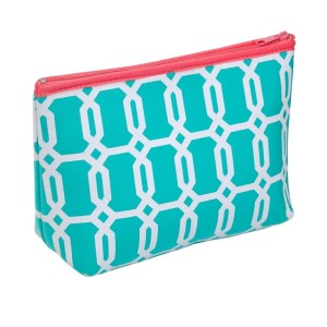"This neoprene zippered pouch is the perfect size to all your essentials. Fits easily inside a larger handbag or luggage and is machine washable. Perfect for monogramming and measures 10"" x 5"" x 5"""