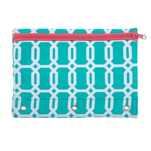 """Neoprene pencil pouch fits a standard three ring binder and features a zipper closure for easy and secure access. Machine washable and water resistant. Perfect for monogramming. Measures 7.5"""" x 10.25"""""""