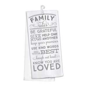 """""""Family Rules"""" kitchen dish towel made of 100% cotton that's super absorbent and machine washable. Towel measures 25 x 19 when open."""
