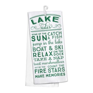 """""""Lake Rules"""" kitchen dish towel made of 100% cotton that's super absorbent and machine washable. Towel measures 25 x 19 when open."""