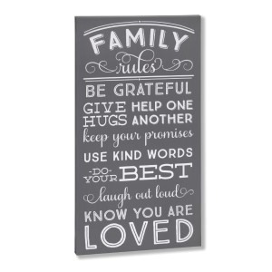 """Decorate your home with this """"Family Rules"""" wrapped canvas wall art that includes a metal hanger on the back of the frame for easy hanging and measures 10 x 19 x 1."""