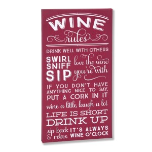 "Decorate your home with this ""Wine Rules"" wrapped canvas wall art that includes a metal hanger on the back of the frame for easy hanging and measures 10 x 19 x 1."