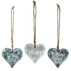 """Set of three ceramic hearts on jute cords that can be used multiple ways - ornaments, package ties, craft projects. Measures approximately 2.5"""" x 2.5""""."""