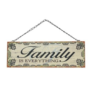 """Rustic metal wall sign on a chain link hanger, that reads """"Family is everything."""" Measure approximately 14.5"""" x 5""""."""